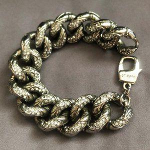 ST. JOHN Gun Metal & Crystal Bracelet